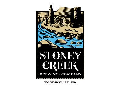 Stoney Creek Brewery Logo woods stream cabin beer woodcut illustration brewery branding logo