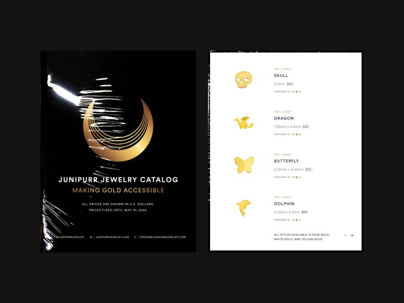 Junipurr Catalog 2020 type logo minimal layout editorial design print gold jewelry branding grid
