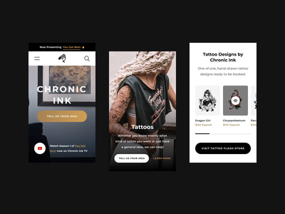 Chronic Ink Mobile Landing 2020 video web design mobile ux ecommerce tattoos minimal photography design web ui