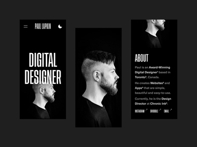 Mobile Portfolio Concept 2020 concept design white black photography dark website typography mobile branding portfolio personal ux ui