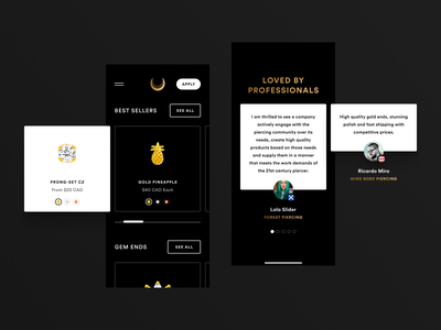 Junipurr Mobile Cards grid web design ecommerce product page gold jewelry junipurr art direction branding logo dark interface landing website design ux ui