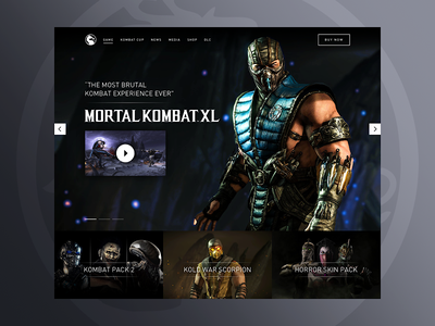Mortal Kombat Redesign photography layout website grid dark gaming landing xbox game ui web design