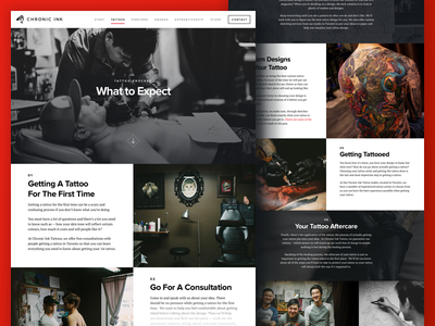 Chronic Ink Tattoos Page website type dark shop asian grid tattoo photography ui web layout design