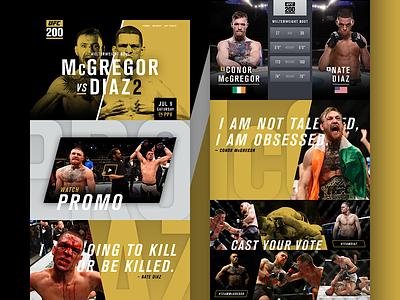 UFC 200 – McGregor vs Diaz 2 Promo Site website angle grid dark typography landing layout ui web sports ufc mma