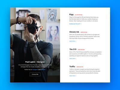 Portfolio 3.0 website profile grid designer personal photography typography minimal web ui portfolio ux