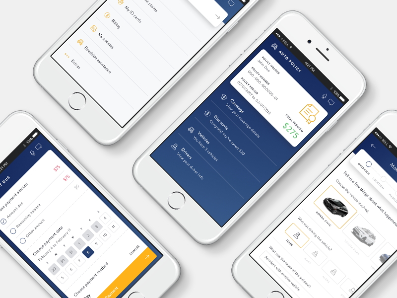 Liberty Mutual App auto concept design interface ui icon typography art direction insurance mobile app ios
