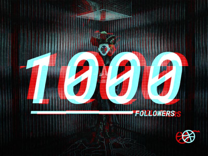 1000 Followers grain ghosts in the shell film tv glitch mono typography type effect text dribbble digital