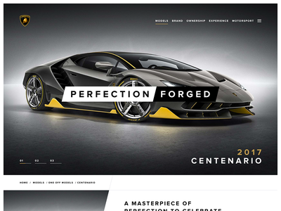 Centenario Teaser car landing ui web website web design site design typography lamborghini simple type