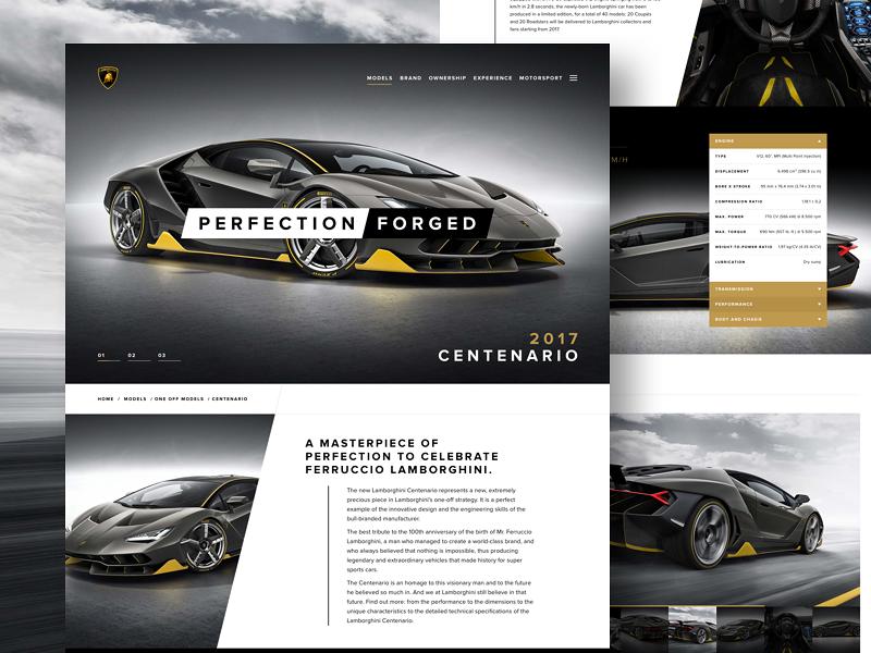 Centenario Landing type simple lamborghini typography design site web design website web ui landing car