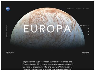 Europa Teaser web design type circular site space landing ui web jupiter moon simple grid