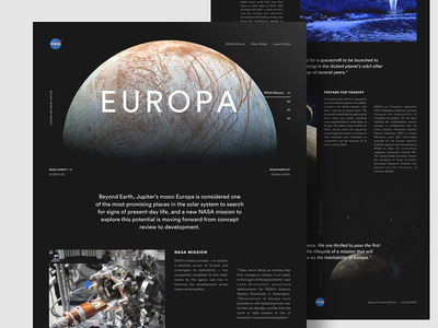 Europa Landing grid simple moon jupiter web ui landing space site circular type web design