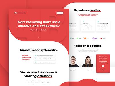 Performance Labs — Landing Page minimal ux ui interface clean landing page home page web design web digital agency corporate branding