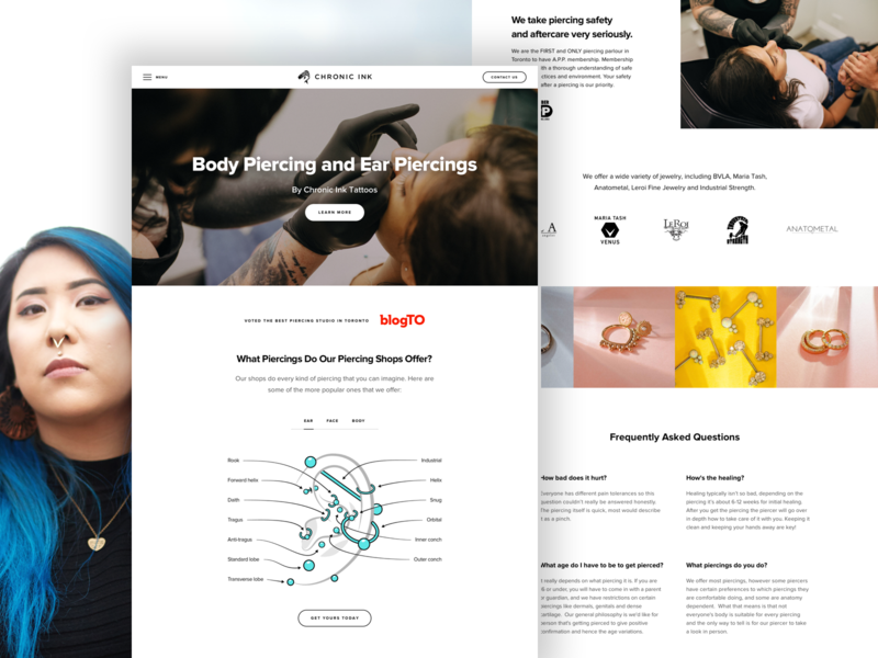 Chronic Ink Piercing Services infographic landing page landing piercing jewelry illustration photography ux grid website design web ui