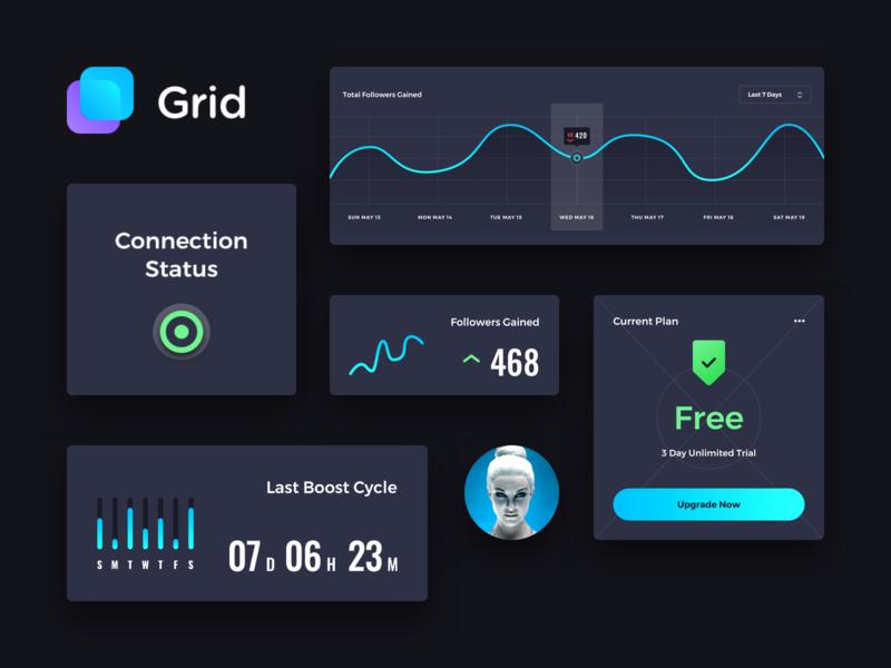 Instagram Dashboard UI web ux user ui stats neon interface instagram grid flat design dashboard dark application app analytics