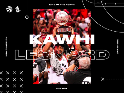 Fun Guy. wallpaper vector icon sports kawhi leonard branding interface dark web design raptors basketball nba ux ui grid typography type