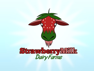 StrawberryMilk Dairy Farms Logo vector adobe illustrator logo design strawberry cow