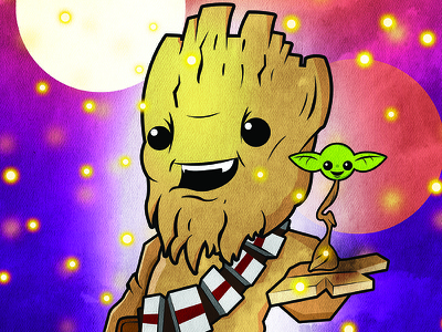 Grootbacca groot chewbacca starwars marvel disney guardians of the galaxy comic book nerd art geek art nerd geek