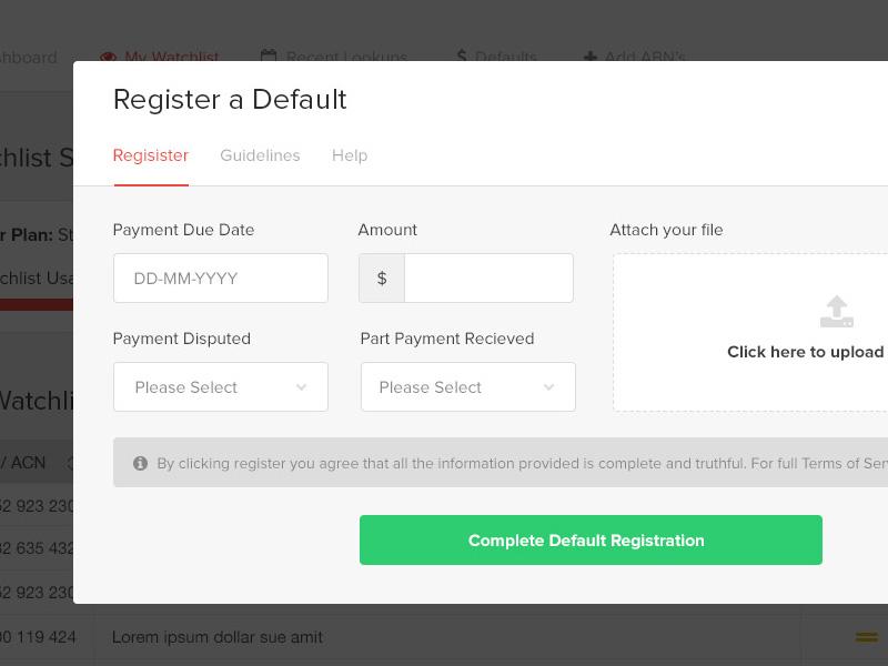 Registering A Default date picker alert warning notice call to action upload dropdown prefix input input modal navigation