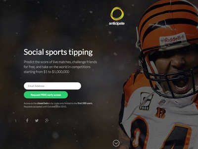 Anticipate Coming Soon sports hero homepage social email capture ui ux register landing page coming soon