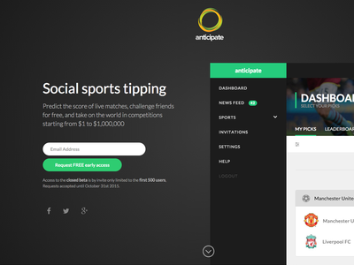 Anticipate Coming Soon 2 sports register landing page social homepage email capture coming soon hero ui ux