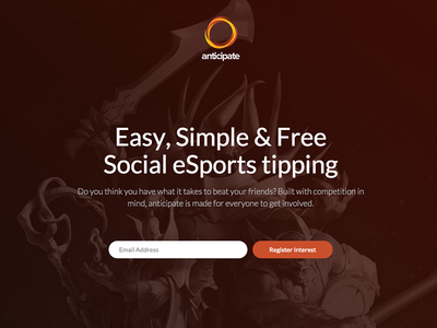 Anticipate eSports Coming Soon esports register landing page social homepage email capture coming soon hero ui ux
