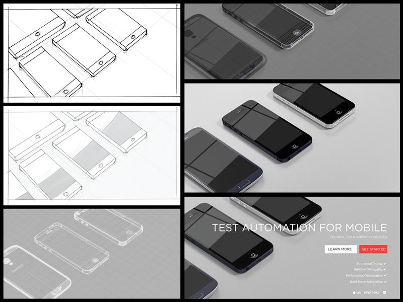 Phones Hero Image Process hero mobile phones 3d process landing page 3d rendering