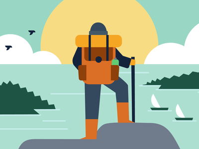 Day Dreamer hoiliday dream nature sea top hiking mountain flat app creative vector illustration 2d