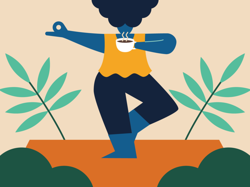 Be in control of your finances with Monzo monzo character flat character design vector illustration 2d yoga pose coffee yoga