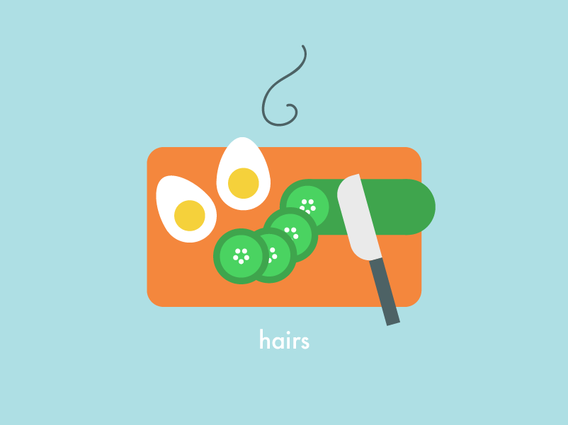 Food Health & Safety | Hairs board chopping knife eggs cucumber safety health food kitchen design vector illustration 2d