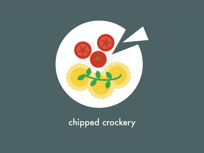 Food Health & Safety   Chipped crockery kitchen food plate tomatoes ravioli design vector illustration 2d