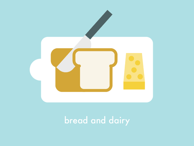 Bread and dairy board chopping slice chopping board cheese knife bread flat creative vector illustration 2d