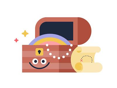 Happy Treasure fun jewels gems treasure map treasure chest treasure chest design vector illustration 2d