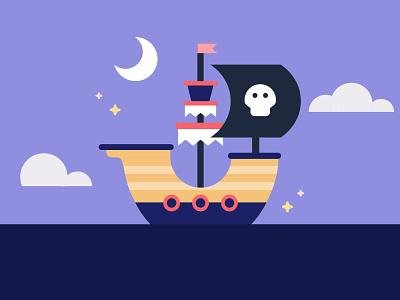 Pirate Ship pirate flag flag stars moon ship boat skull pirates boat pirate ship pirates flat design vector illustration 2d