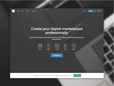 MarketHub ecommerce design web website ui theme marketplace hero black