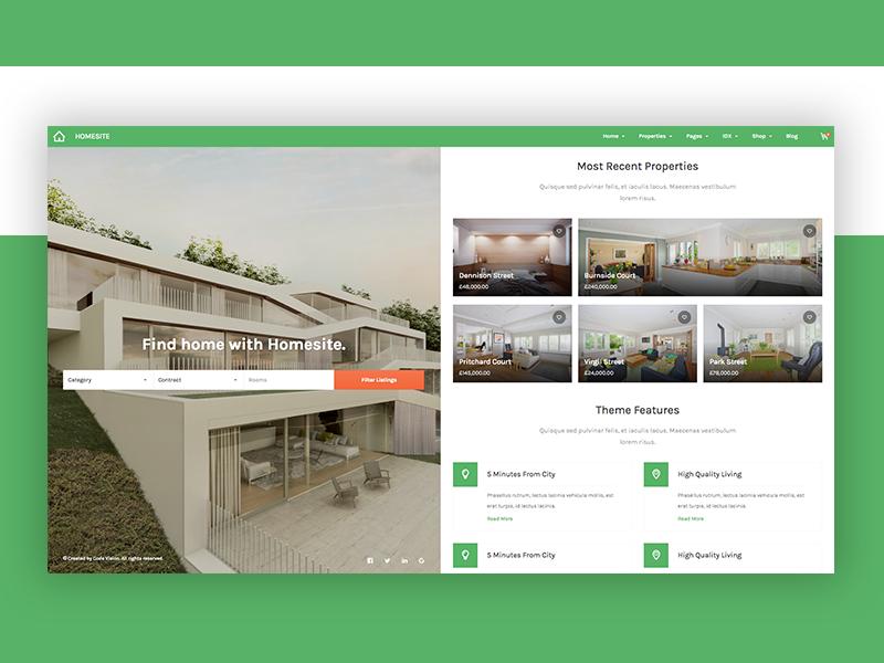 Homesite split screen web theme green website design clean modern ui real estate