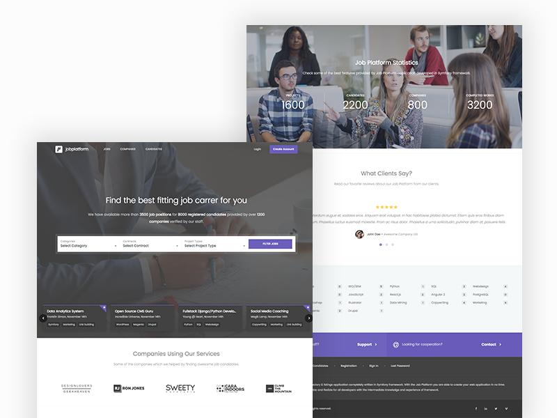Job Platform symfony purple landing homepage ui design web carreer job