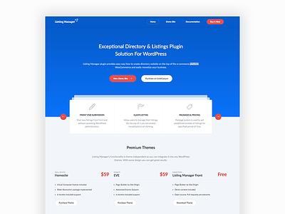 Listing Manager plugin wordpress clean landing ui design website web