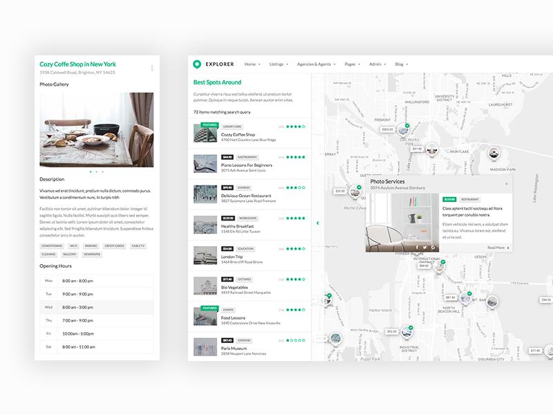 Map, markers and sliding detail infobox detail marker design web ui map