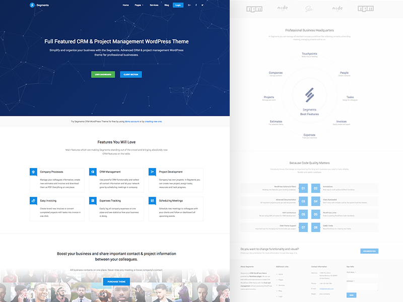CRM Landing Page ui crm wordpress webdesign
