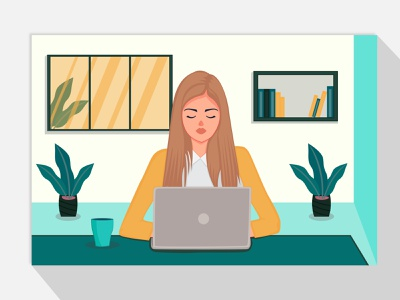 Work from home concept illustration character design women illustration girl illustration work from home stay home portrait art digital art design portrait illustration vector illustration vector drawing vector art vectorart vector illustration