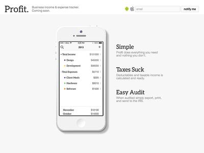 Profit App Preview Home Page