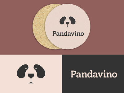 Pandavino | Logo for a Wine Bar wine bar logotype wine glass glass wine panda logo design logo