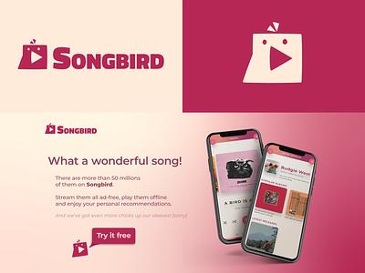 Songbird | Logo for a Music Streaming App logotype music player app music music app bird logo design logo