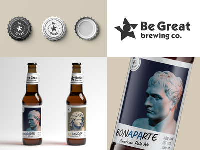 Be Great brewing co. | Logo and packaging branding star eye bottle label packaging beer antique logotype logo design logo