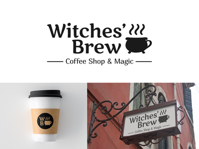 Witches' Brew | Coffee Shop Logo black and white cafe branding cup magic coffee shop coffee logotype logo design logo