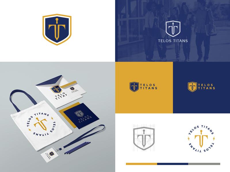 TELOS letter t monogram sword illustration vector graphic design redesigned concept redesigned logo design school brand school logo rebranding rebrand telos