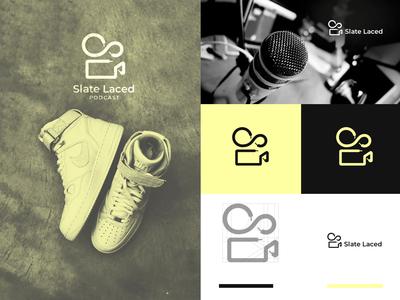 Slate Laced Podcast - Lodo Design podcast app laces logo design concept combination mark design vector illustration sneaker brand design branding graphic design logo design podcast
