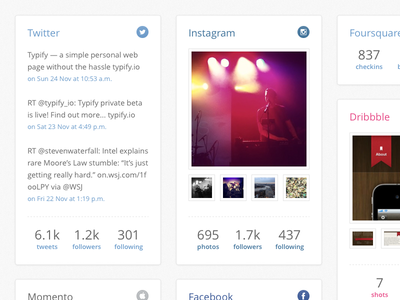Typify Profile typify profile social webpage instagram twitter tweets dribble foursquare