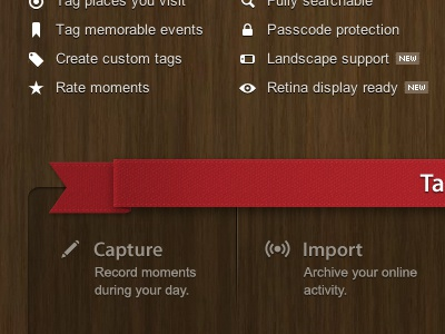 Momento Red Ribbon & Icons red ribbon website texture material icons