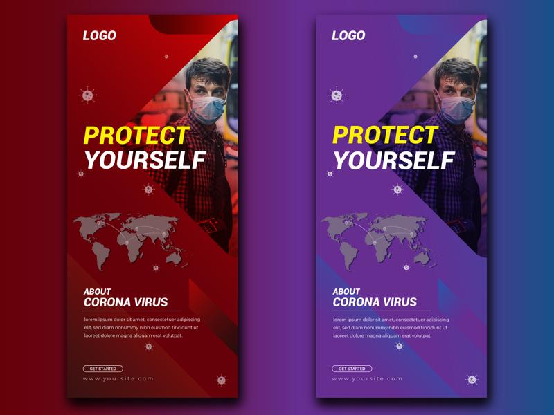Creative Corona Virus Roll Up Banner Template Design